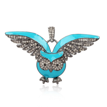 Wholesale Pave Diamond Owl Pendant 925 Sterling Silver Turquoise Enamel Jewelry