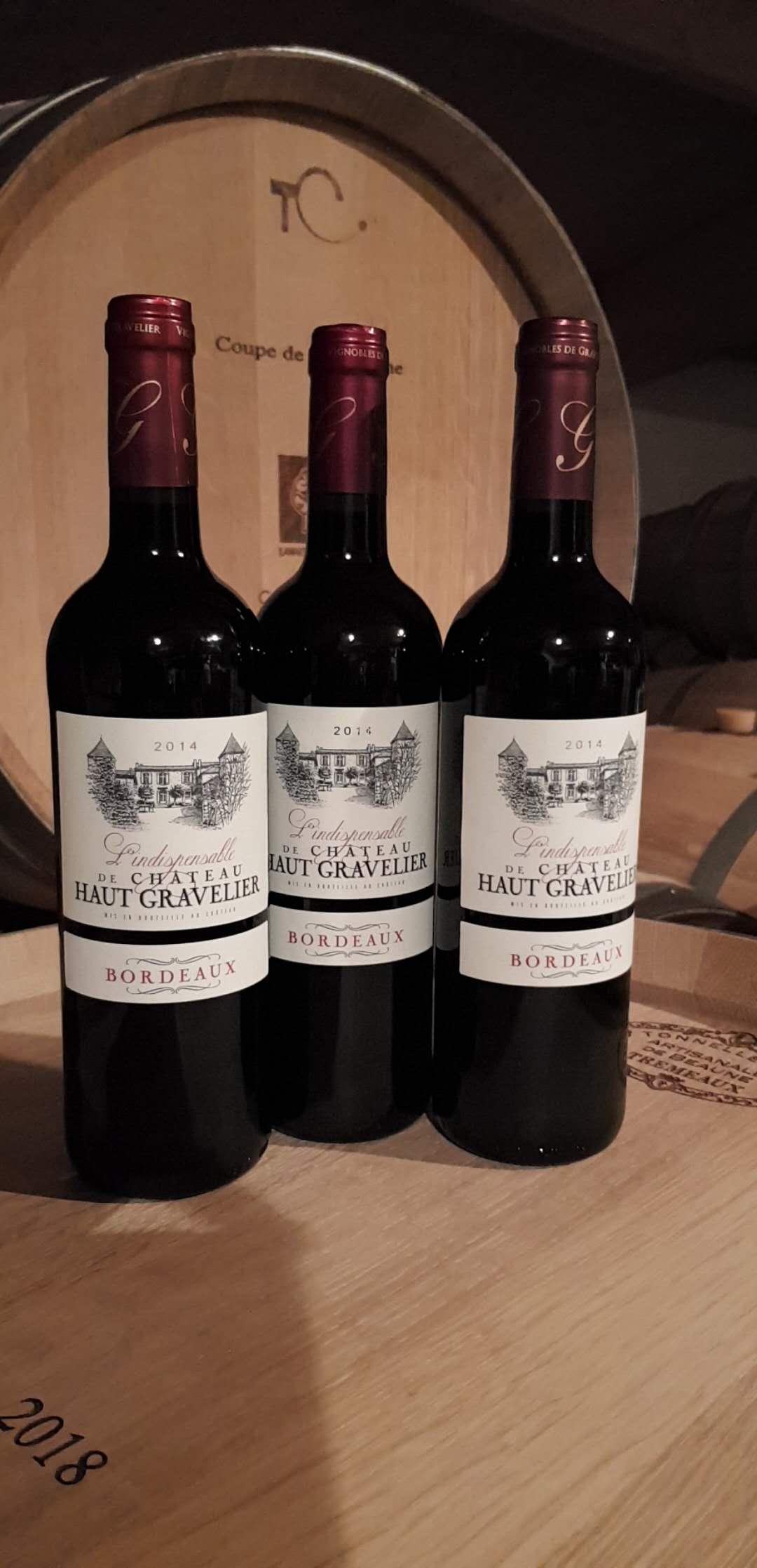 Red French Wine Chateau Haut Gravelier Indispensable Bordeaux AOC