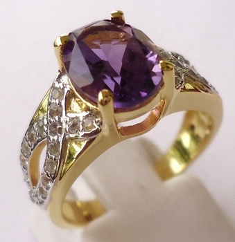Sterling 925 Silver Real Genuine Gemstone Jewelry Amethyst Ring Yellow Gold Plating