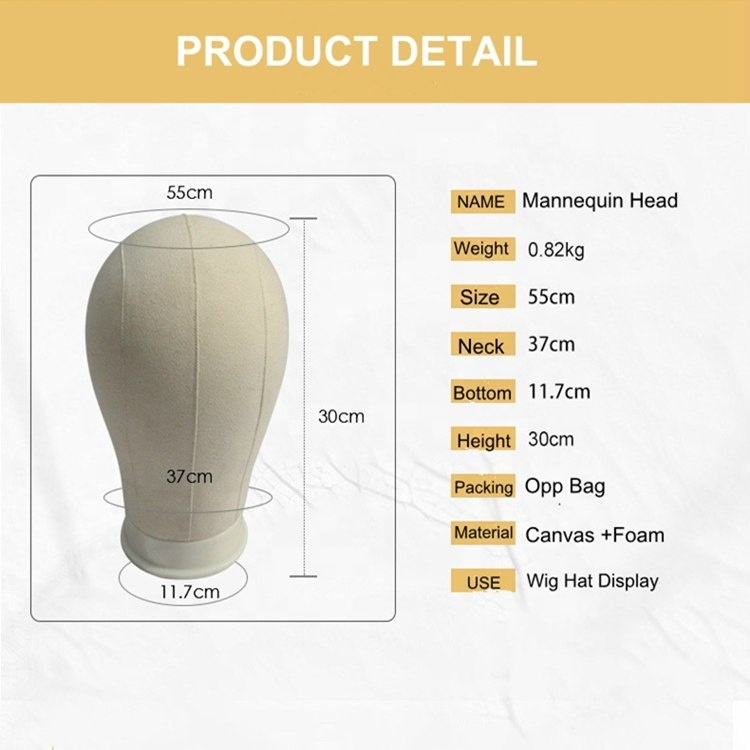 2018 New Wig Styling Display Holder Canvas Cotton Cork Manikin Mannequin Head For Making Wigs