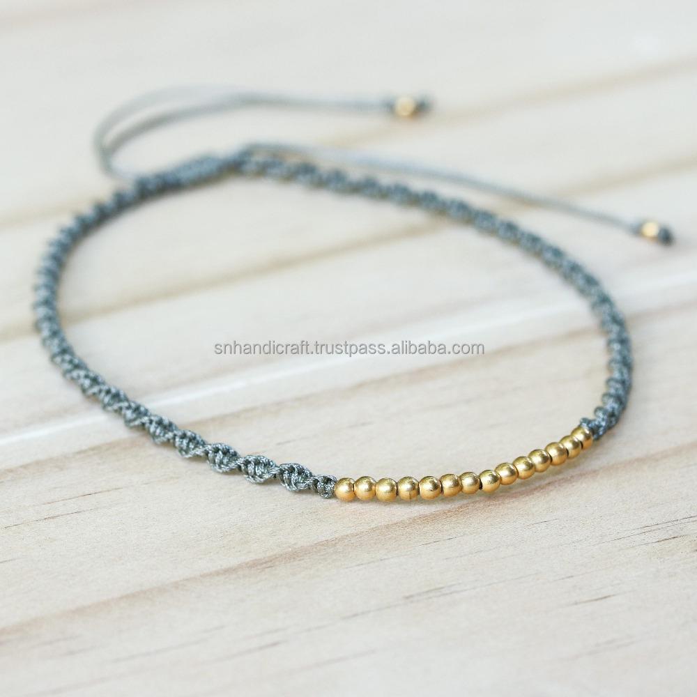 thread bracelet silver beads