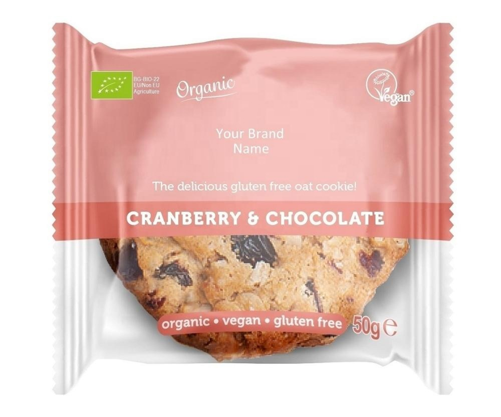 Organic Vegan Oat Cookie With Cranberry And Chocolate Gluten Free Private Label Wholesale Bulk Made In Eu Buy Chocolate Star Cookies Organic Vegan Bisquits Cookie Bags Cookie Packaging