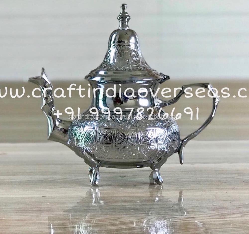 Moroccan Tea Pot Chrome Finish Lead Free