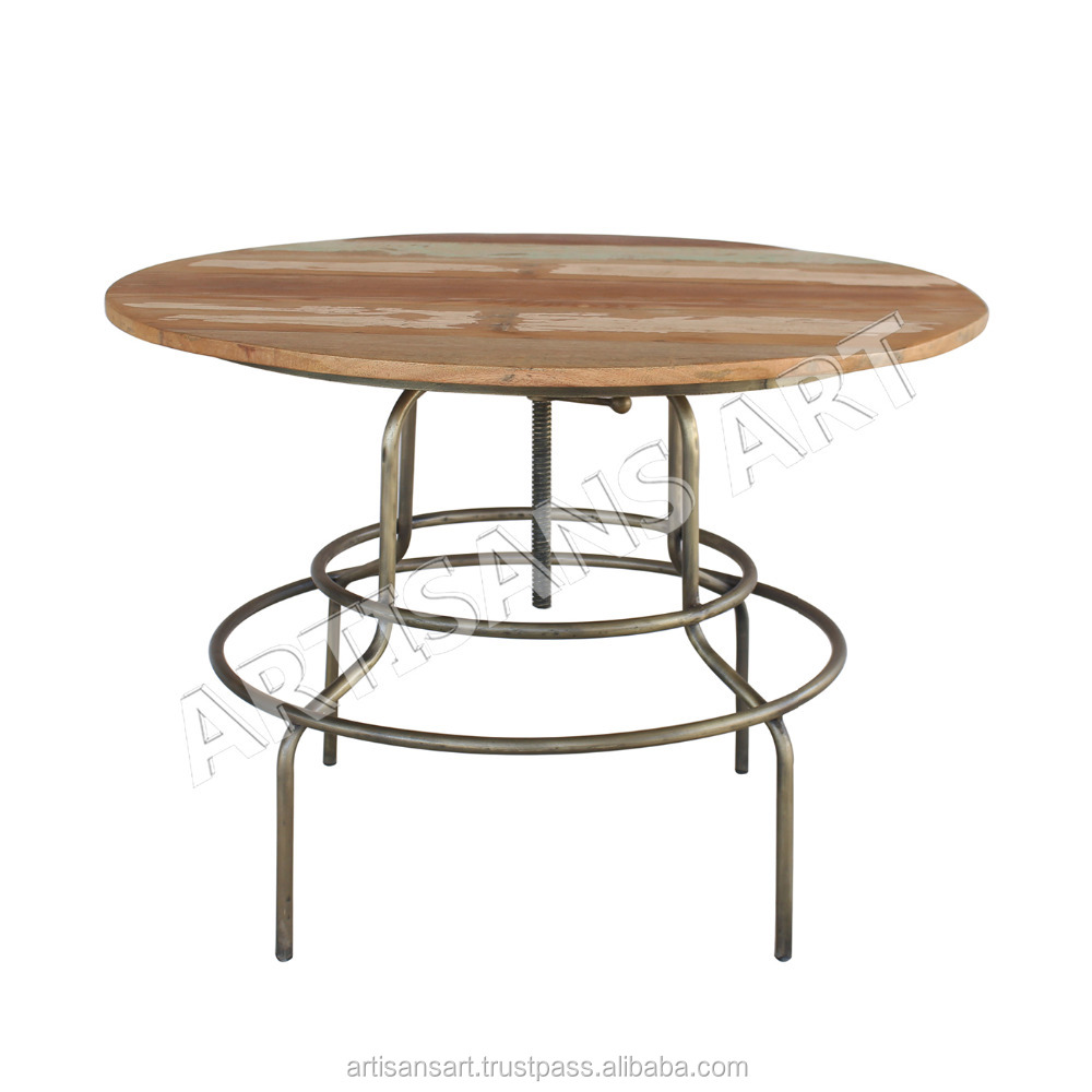 Extraordinary Industrial Reclaimed Wood Round Dining Table Delightful Industrial Dining Room Furniture Buy Round Folding Dining Table Industrial Wood Metal Dining Table Metal Wood Top Bar Table Product On Alibaba Com