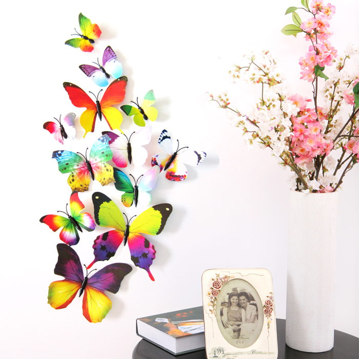 Butterfly Wall Stickers Kids Bedroom 3d Home Decor Colorful Decoration Decals Fridge Magnets Wall Art Sets 12pc Buy Wall Stickers Kids Bedroom Butterfly Wall Stickers Butterfly Wall Decor Product On Alibaba Com
