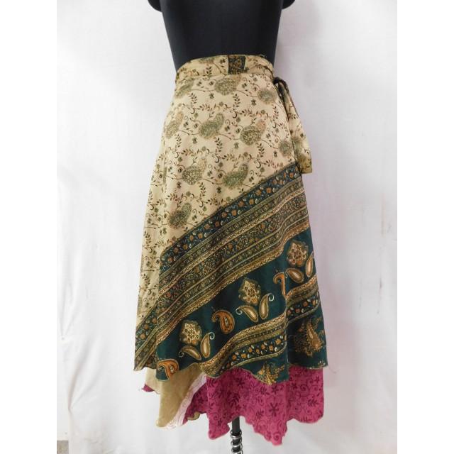 Vintage Silk Long Skirt Belly Dance Waist Skirt Dress 2 Layer Magic Wrap Reversible Skirt Indian Handmade Vintage Silk Sari Long Skirt