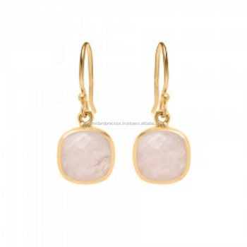 Rose Quartz Gold Plated Bezel Set 12mm Faceted Cushion Gemstone Dangle Earrings - Earring For Women