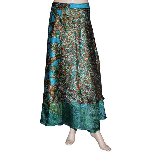 Indian Wrap Around Skirt Wholesale Lot Of 5 Pcs Imprimé Réversible Deux Couche