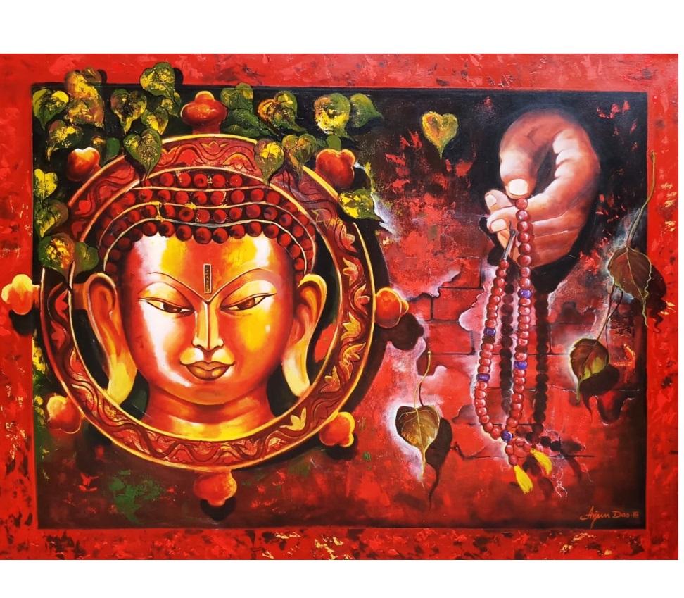 Bright Original Handmade Acrylic Canvas Gautam Buddha Artistic ...