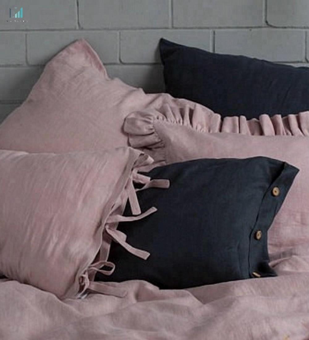 Комплект постельного белья, постельное белье покрывало-пыльно-розовое льняное ПОКРЫВАЛО РУЧНОЙ РАБОТЫ