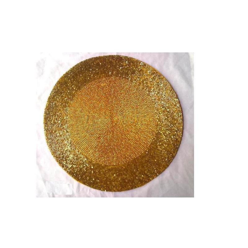 Round two tone Glass beaded table place mat with patterns available in more colours and patterns