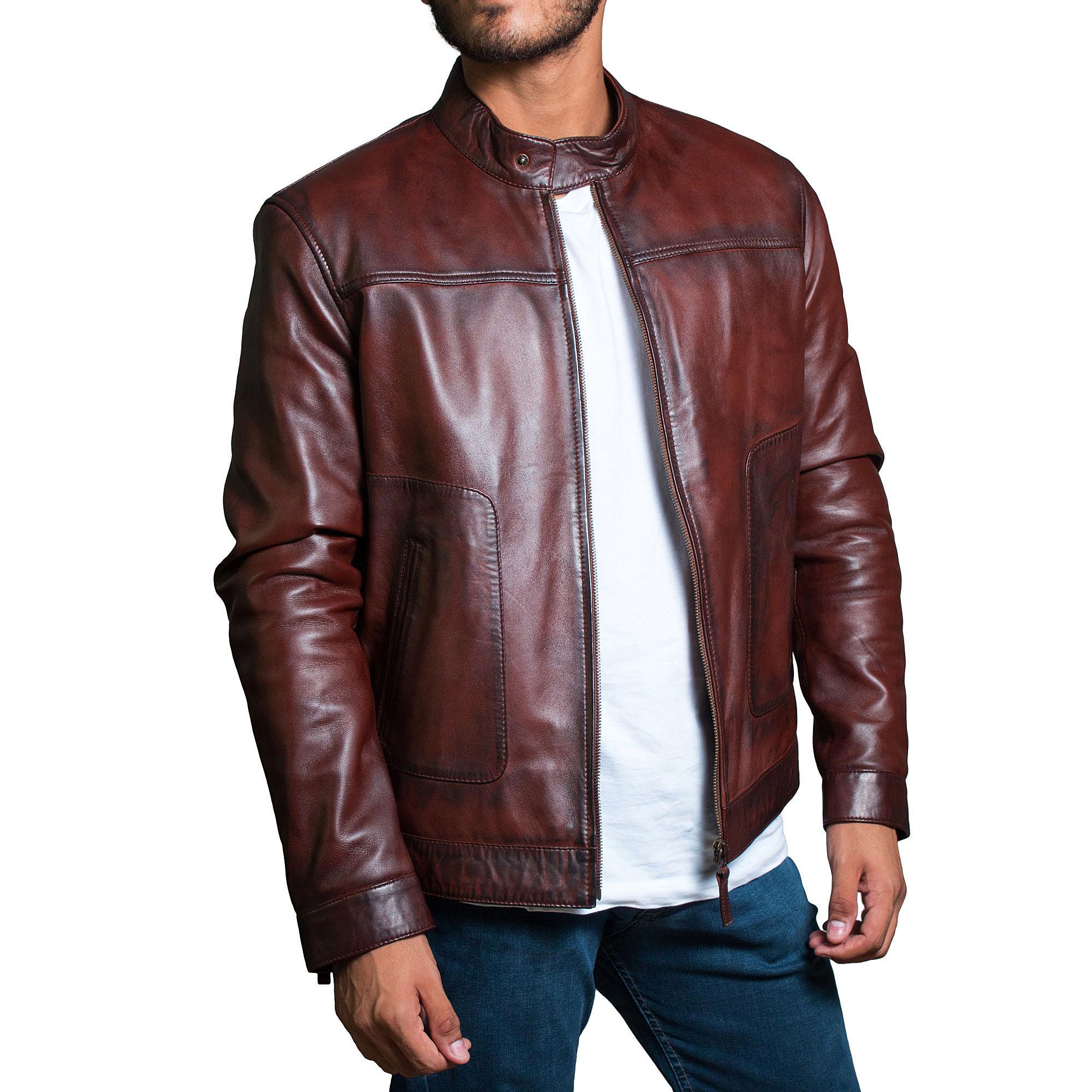 Men Classic Leather Jacket Slim fit