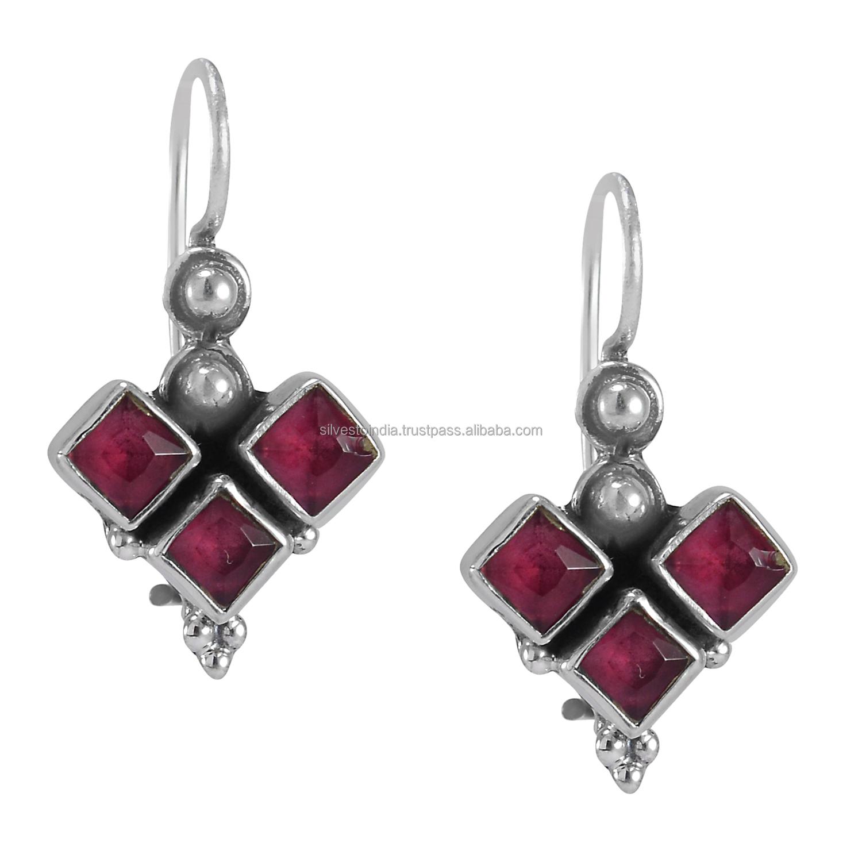 925 Sterling Silver Jewelry Jewelry for Women Natural Pink Sapphire Quartz Semi Precious Gemstone Earring Gemstone Jewelry