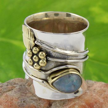 Vintage look two tone 925 sterling silver labradorite gemstone ring wholesale fine jewellery exporter supplier