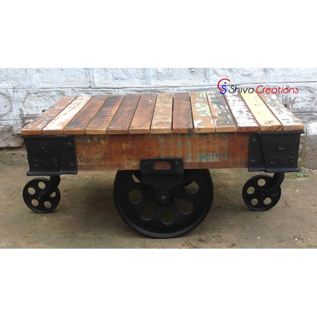 Hot Selling Industrial Vintage Wood Metal Cart Coffee Table With Wheels Buy Industrial Cart Coffee Table With Wheels Vintage Wood Metal Cart Coffee Table With Wheels Hot Selling Coffee Table With Wheels Product