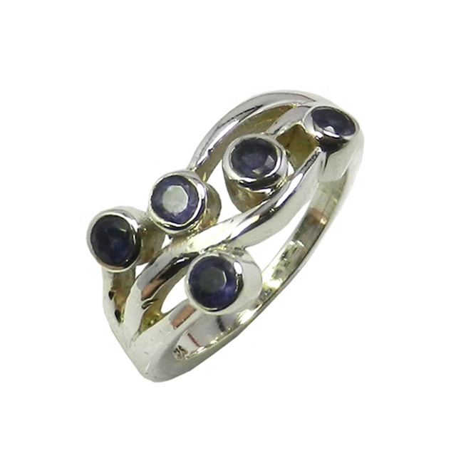 Iolite 18K Gold Plated 925 Sterling Silver Band Ring Gemstone Jewelry