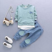 Комплект детской одежды для мальчиков и девочек с мультяшным слоном, хлопковая зимняя детская одежда, футболка + штаны, костюм(Китай)