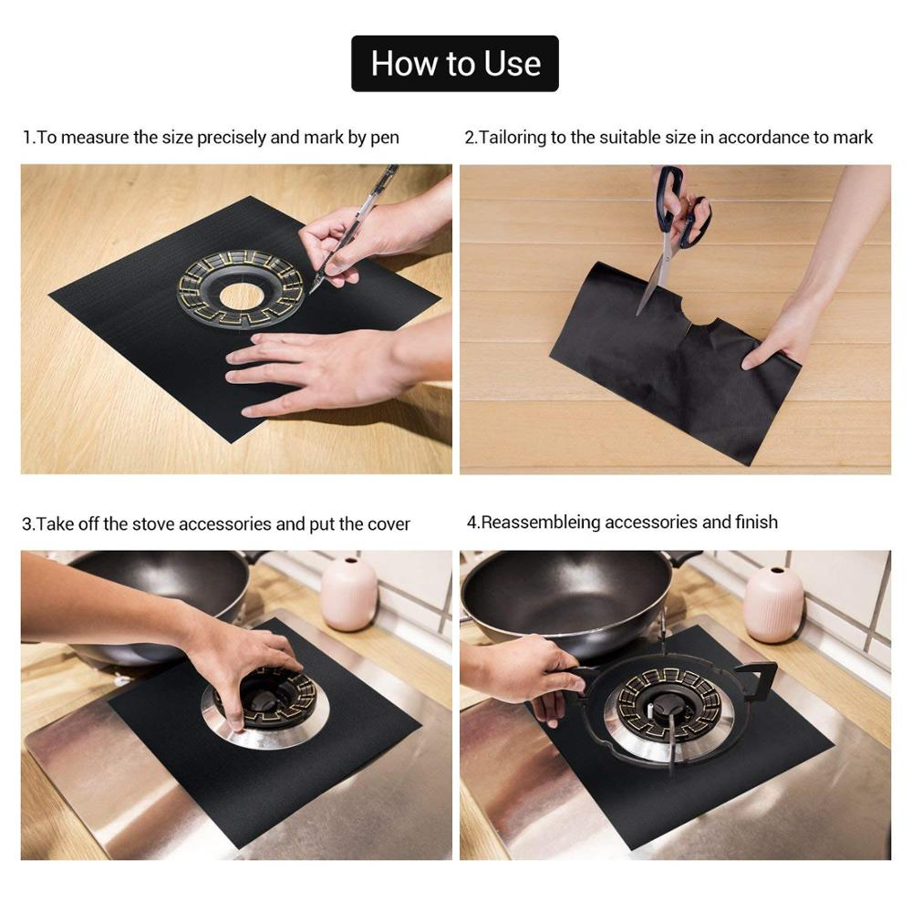 0.3mm Thick Reusable Gas Range Protectors Non-Stick Dishwasher Safe Stove Burner Covers