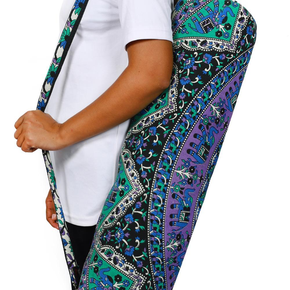 New Indian Mandala Yoga Mat Carry Bag With Shoulder Strap Carrier Bag Cotton Bag