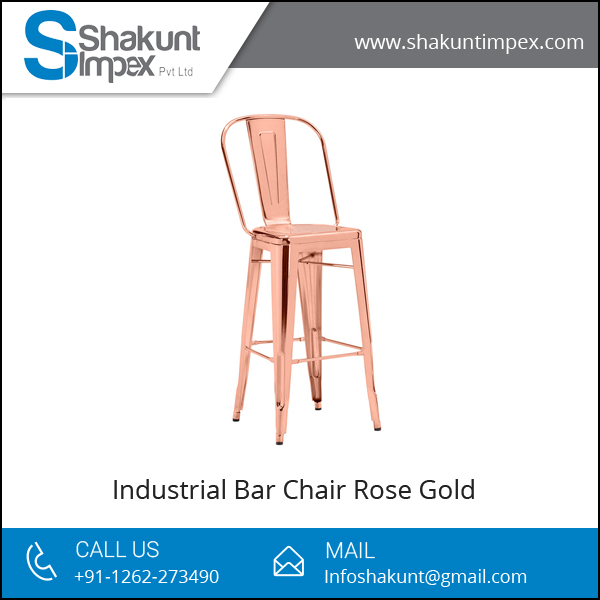 Wholesale Supply Elegant Rose Gold Industrial Bar Chair at Affordable Price