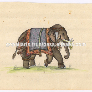 Miniature water color painting royal elephant miniature art original paper handmade painting ethnic wall decor
