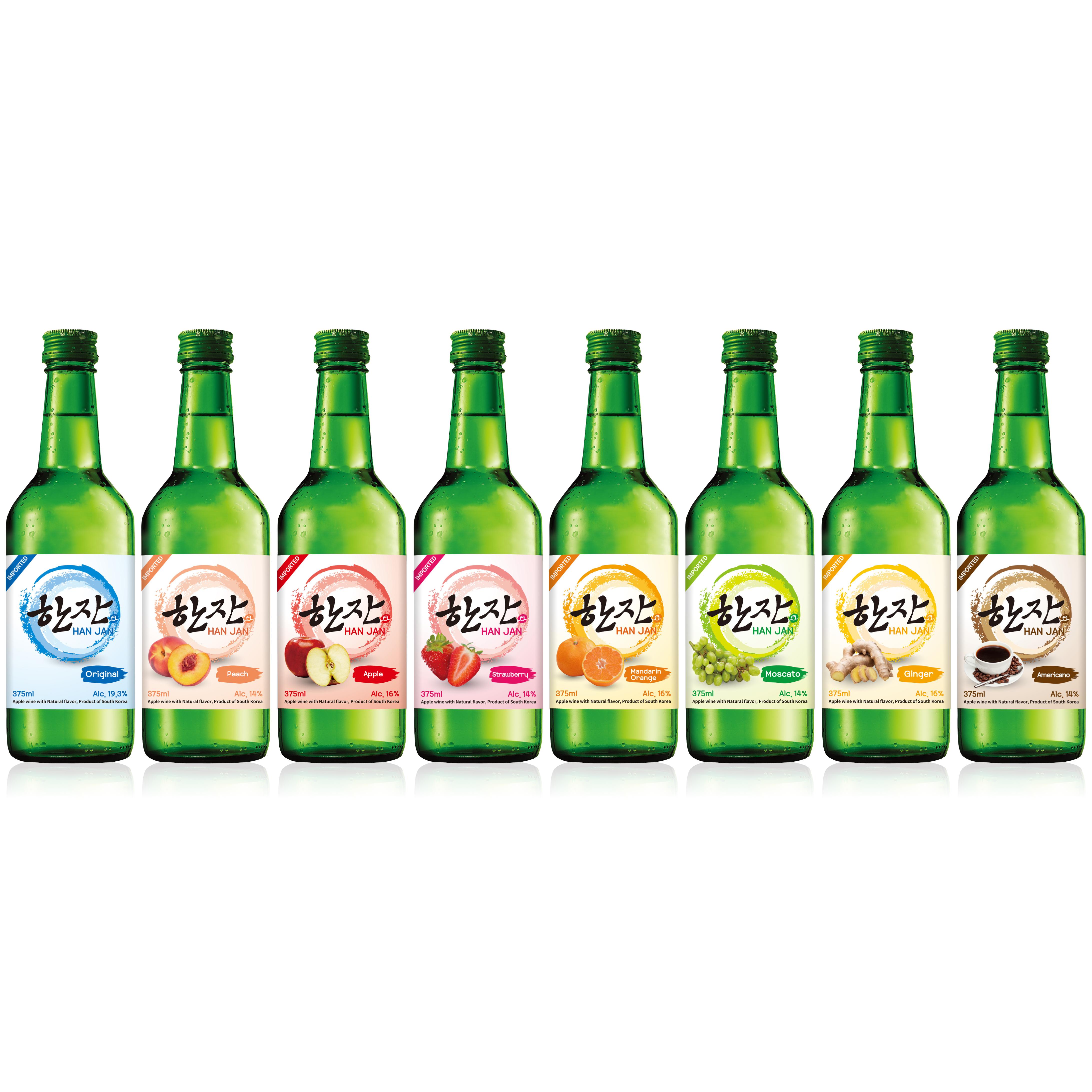 HanJan, Soju, корейское вино с фруктовым вкусом, яблочное вино, 375 мл