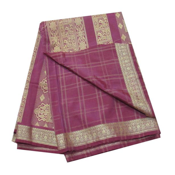 Vintage sari purple traditional Handmade Indian fabric silk saree