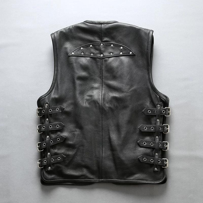 New Men's Cowhide Leather Biker Vest LFC-LV-3153