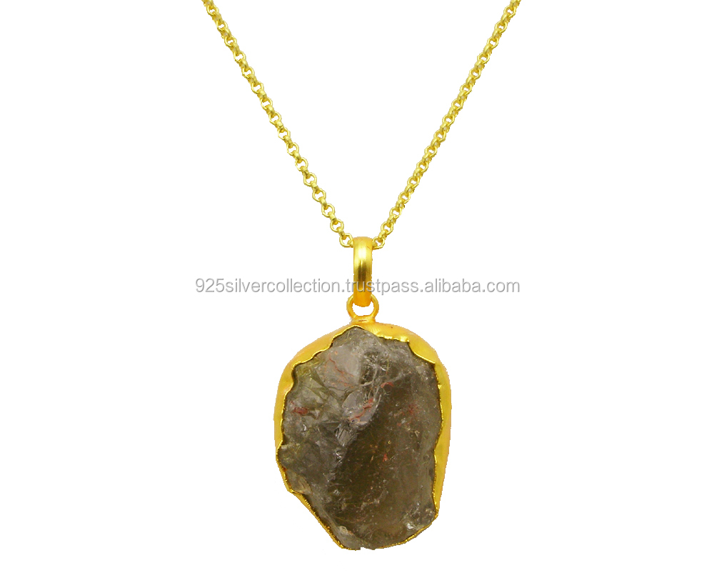 Personalized unisex jewelry with natural stones Gold rutiled quartz Necklace