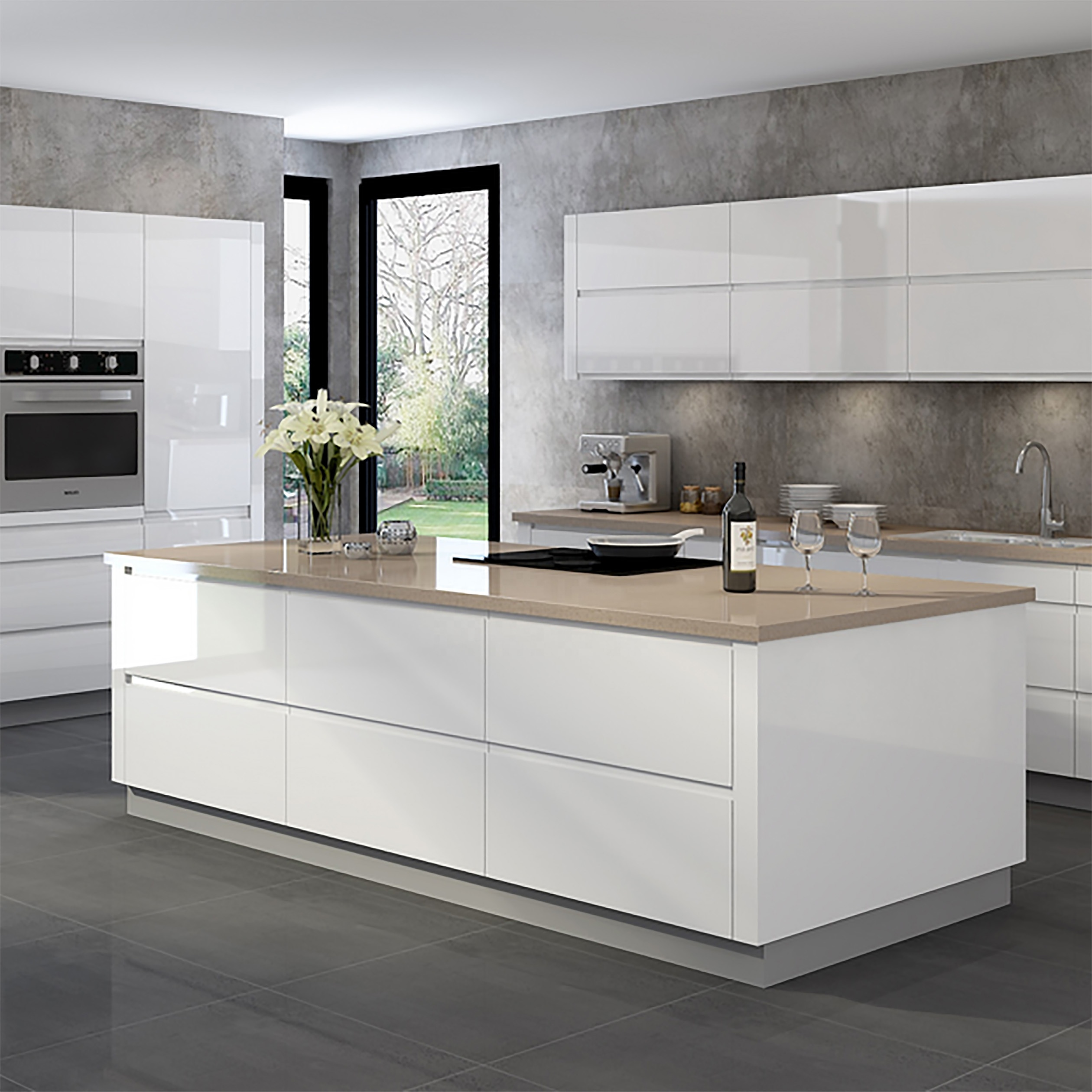 Modern Style Modular Luxury White Lacquer Kitchens Designs   Buy ...