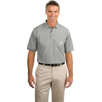 Port Authority Silk Touch Polo with Pocket - 65/35 poly/cotton, has a left chest pocket and comes with your logo