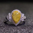 925 Sterling Silver Jewelry Yellow Cubic Zirconia Diamond Pear Shape Rhodium Engagement Halo Diamond Ring