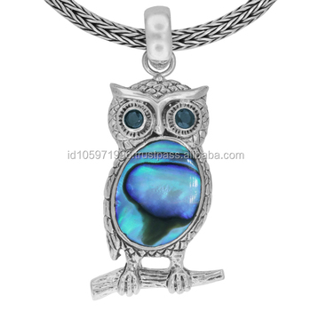 Owl Bali Sterling Silver Pendant with Abalone