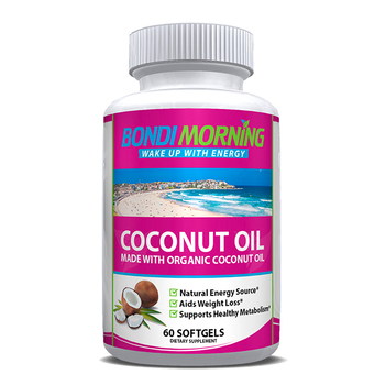 Bondi Morning Organic Coconut Oil Softgels 1000mg .100% Extra Virgin., Aids Natural Weight Loss, Hair Growth, Boosts Energy
