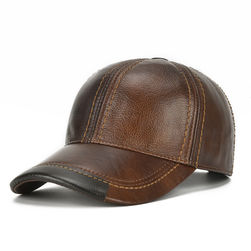 OEM Manufacturer Genuine Cow Leather Army Cap, Real Rider style Cadet, Military Hat