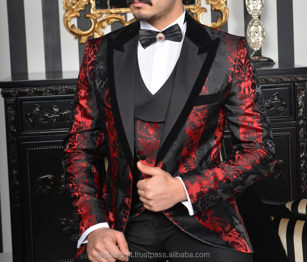 Best Suit Money Can Buy Patterned Black Red Man Suit Buy Pant Coat Design Men Wedding Suits Pictures Wedding Suit Groom Product On Alibaba Com