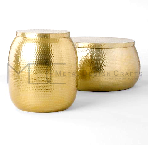 Aluminium Round Hammered Brass Drum Side Table And Coffee Table Set Buy Aluminium Round Hammered Brass Drum Side Table And Coffee Table Set Metal Coffee Table Living Coffee Table Product On Alibaba Com