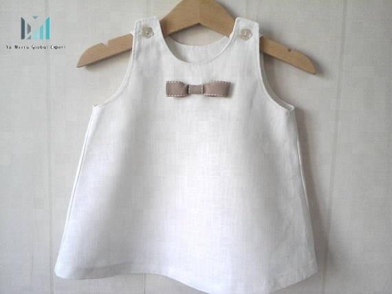 Белое льняное детское платье без рукавов, красивый белый детский топ с небольшим галстуком, льняное детское платье