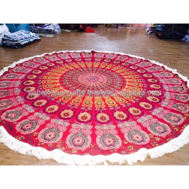 Indian Round Mandala Tapestry Hippie Beach Throw Yoga Met Yoga Bed Sheet Runner