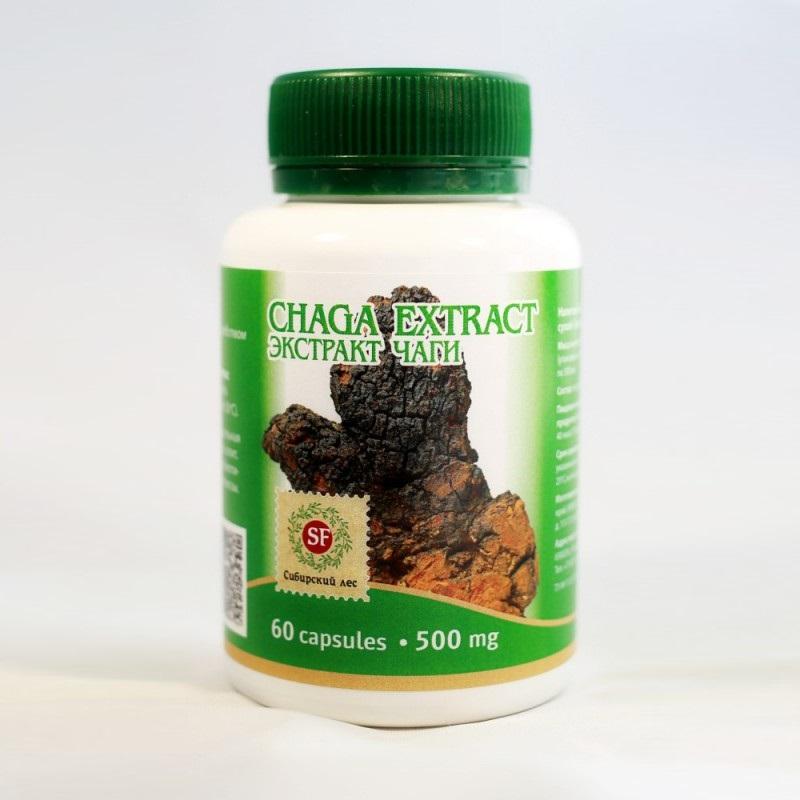 Капсулы экстракта Чаги, органические добавки в виде грибов