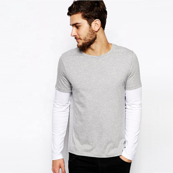 Custom Polyester Spandex Full Hand Pocket Tee Shirt Double Layer Long Sleeve Sport T Shirt