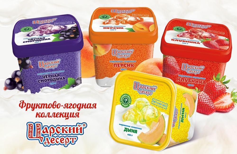 Русский десерт из мороженого с наполнителями
