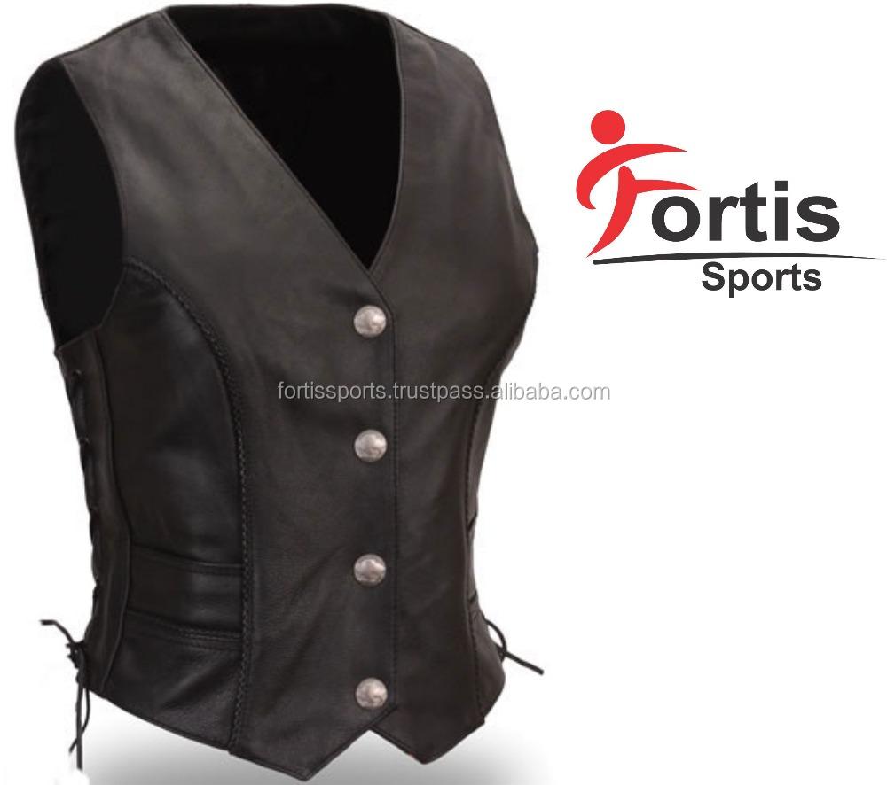 Women Vest Motorcycle Vest Leather Vest 2018