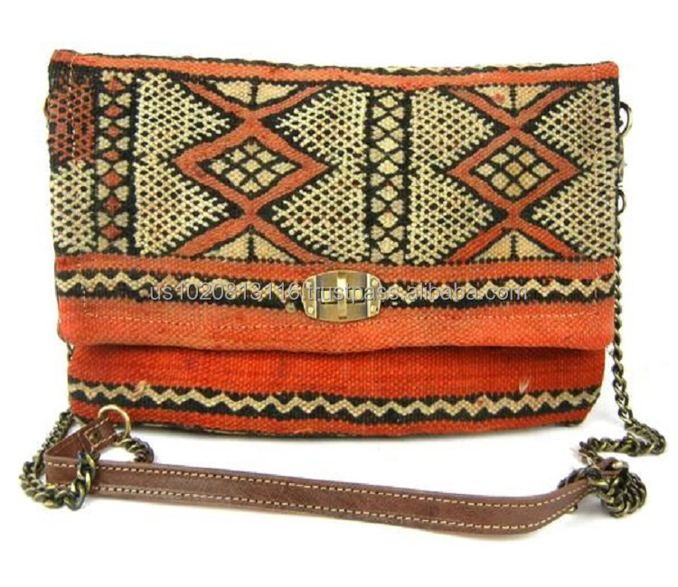 Leather Kilim Pouch Handmade Moroccan Leather Kilim Pencil Case Red Leather Pouch Handmade Leather Bag Leather Makeup Case