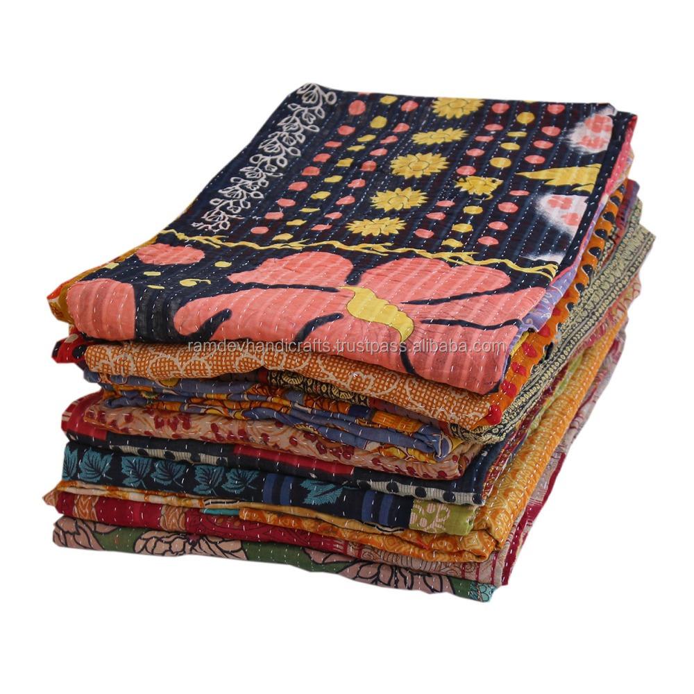 Stripe Design Patchwork Kantha Quilt Handmade Twin Size Kantha Blanket Vintage Kantha Throw Hand Stitched Indian Kantha Bedspread