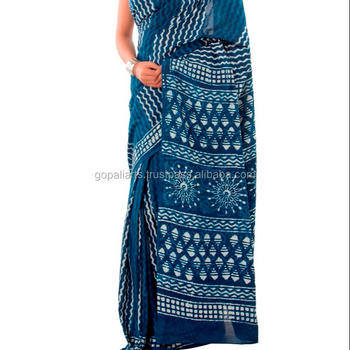Indian traditional saree pure Mulmul Cotton Block Printed Hippie Blue Sari Indian Women's Wear Sari