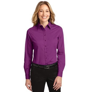 Port Authority Ladies Long Sleeve Easy Care Shirt - 55/45 cotton poly, open collar, adjustable cuffs and comes with your logo