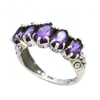 Luxury wholesale jewelry 925 sterling silver amethyst gemstone ring