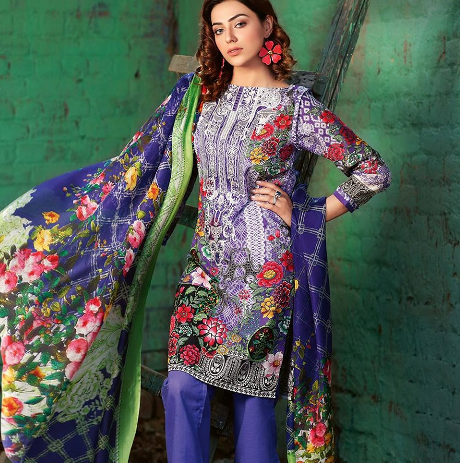 Indian Pakistani Printed Cotton Suit Dress Casual Stitched Shalwar Kameez Salwar