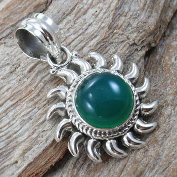 Green onyx gemstone 925 sterling silver pendant jewelry wholesale online gemstone pendant